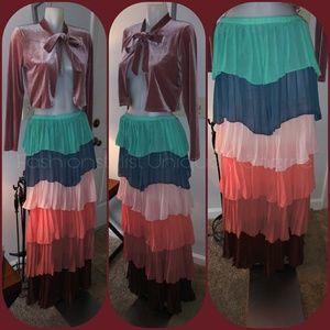 Multi-Color 6 Layer Maxi-Skirt